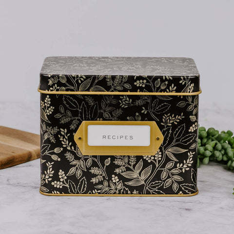 Black & Gold Floral Tin Recipe Box