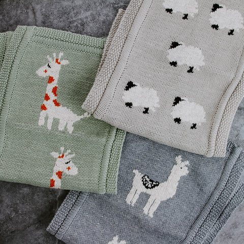 Cotton Knit Animal Burp Cloth