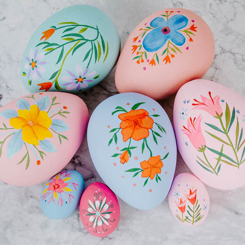 Large Hand Painted Paper Mache Easter Egg