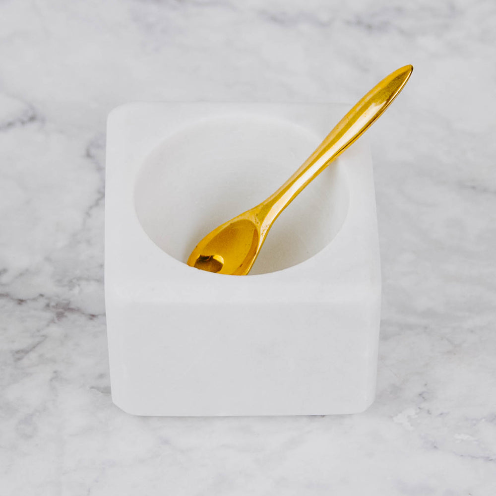 Marble Salt Bowl and Brass Spoon
