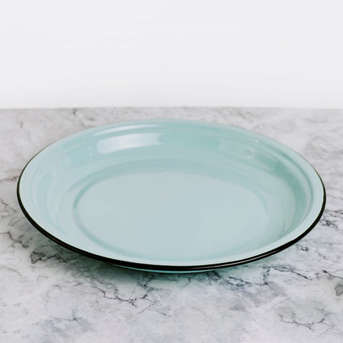 Robin's Egg Blue Round Enamelware Tray