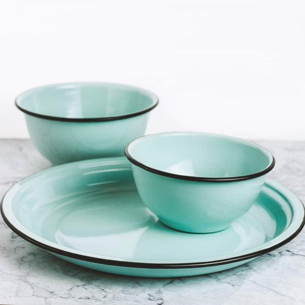 Robin's Egg Blue Enamelware Mixing Bowls