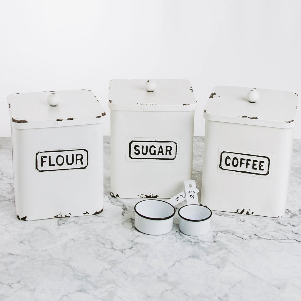 Cream Tin Farmhouse Canisters