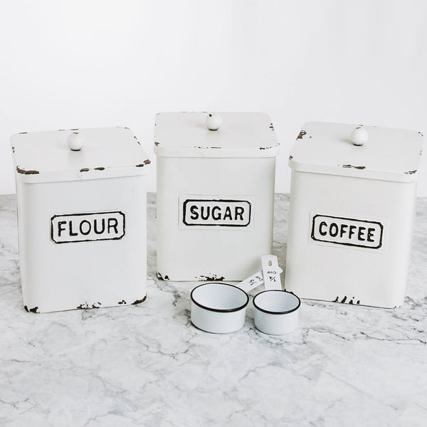 Flour, Sugar & Coffee Tin Farmhouse Canisters