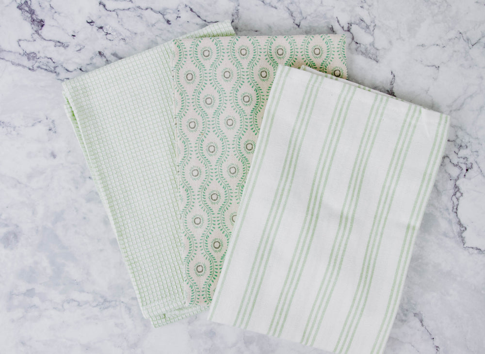 Load image into Gallery viewer, Light Green Tea Towel Set
