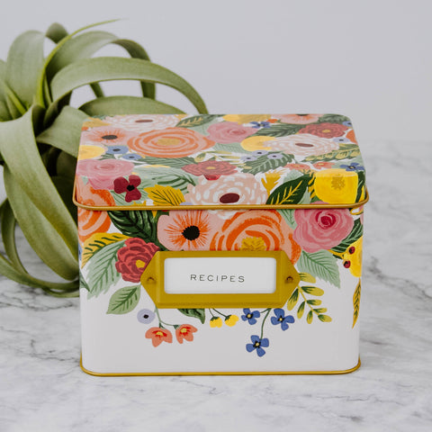Bright Floral Tin Recipe Box