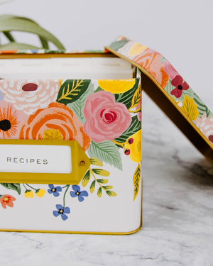Load image into Gallery viewer, Bright Floral Tin Recipe Box