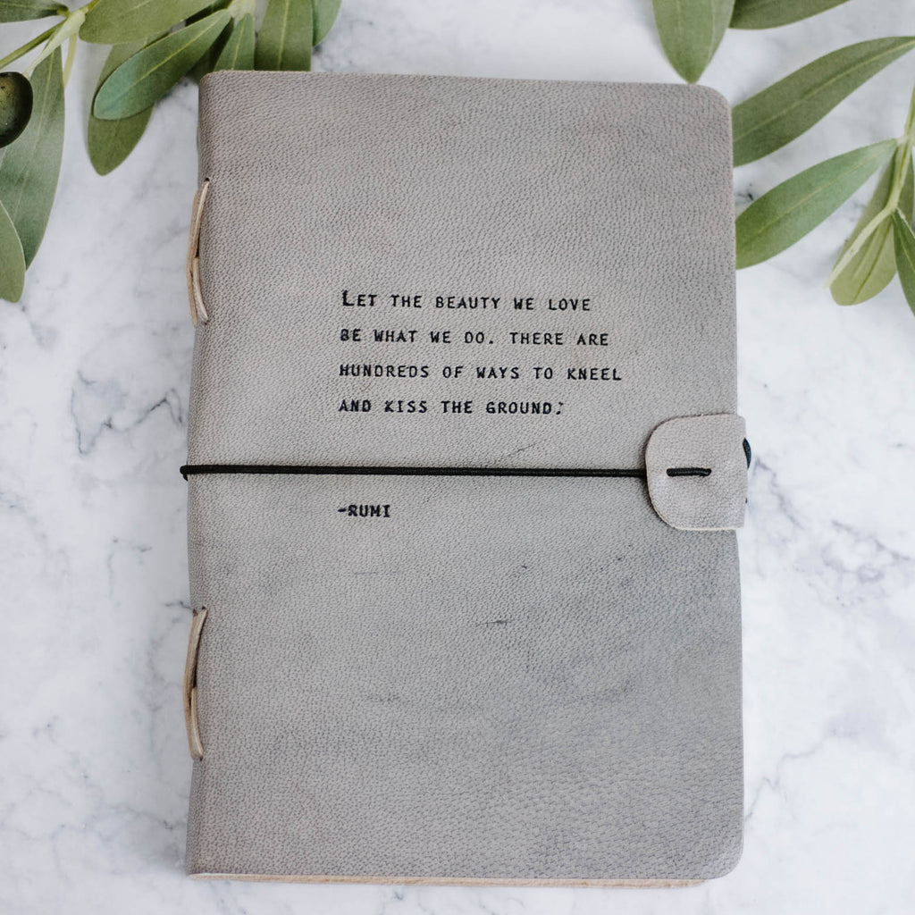 Gray Leather Quote Journal