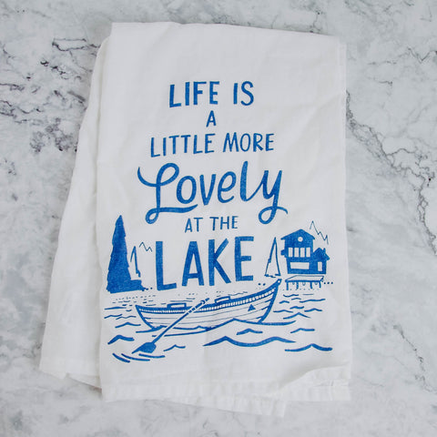 Lovely At The Lake Tea Towel