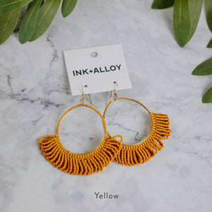 Beaded Hoop Fringe Earrings