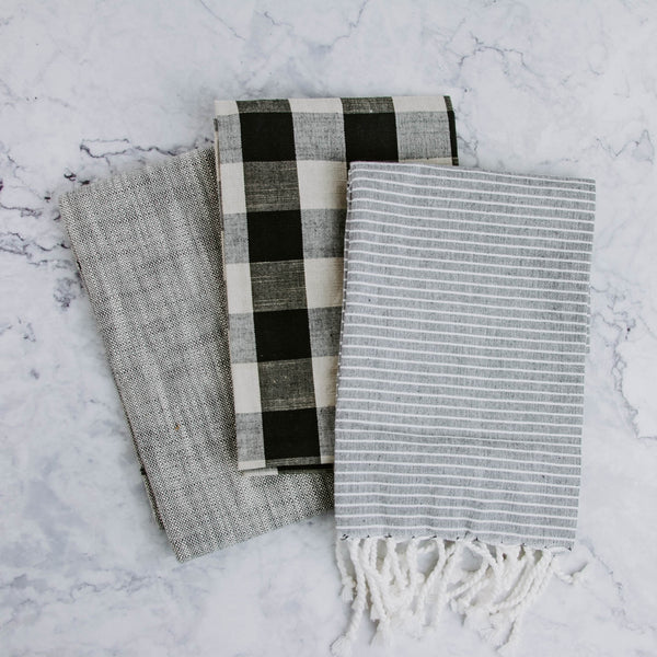 Black, White & Gray Tea Towel Set