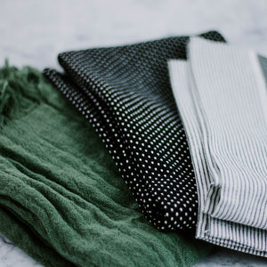 Load image into Gallery viewer, Black & Green Tea Towel Set