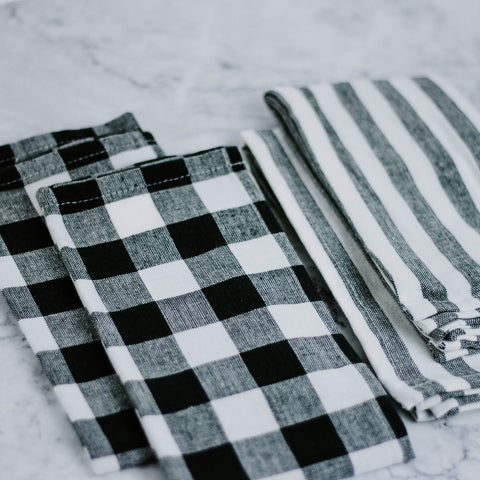 Set of Four Gingham & Striped Napkins