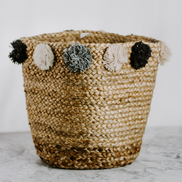Jute Basket with Pom Poms