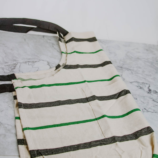 Black & Green Striped Cotton Apron