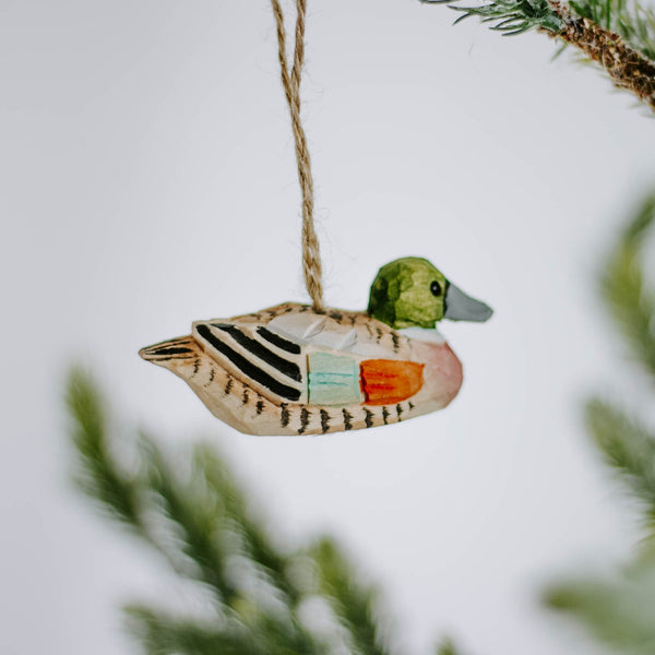 Handcarved Wood Duck Ornament