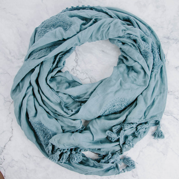 Denim Blue Embroidered Scarf