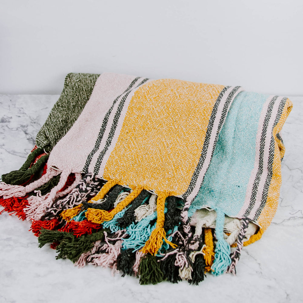 Colorful Striped Knit Throw