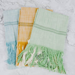 Green, Blue & Mustard Tea Towel Set
