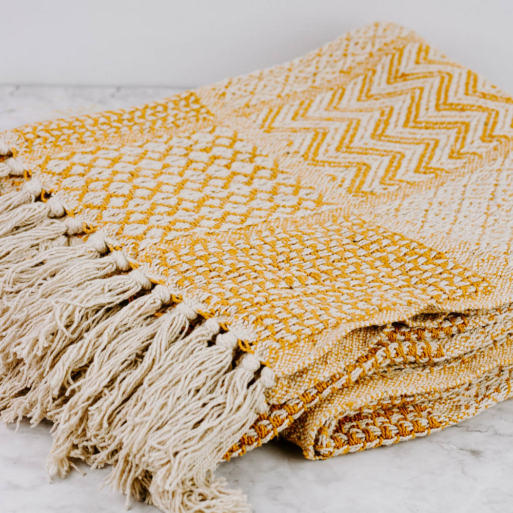 Geometric Tassel Throw Blanket