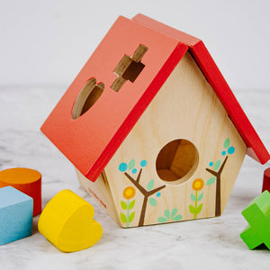 Load image into Gallery viewer, Wooden Bird House Shape Sorter