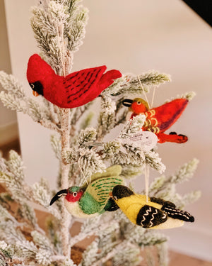 Felted Alpine Love Bird Ornament