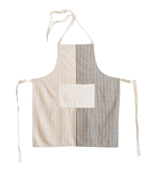 Neutral Striped Linen Apron