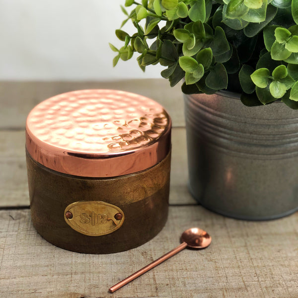 Copper Salt & Pepper Wooden Jar