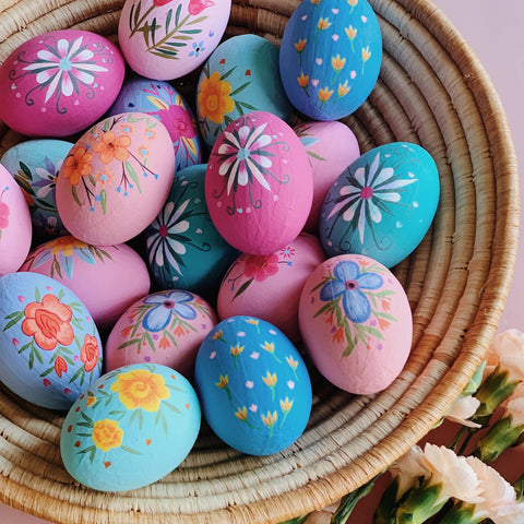 Small Hand Painted Paper Mache Easter Egg Set