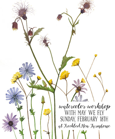 Spring Floral Watercolor Workshop with May We Fly: February 18th