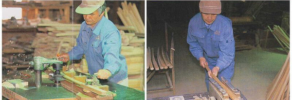 Bokken manufacturing - cutting the shape of the Tsuka