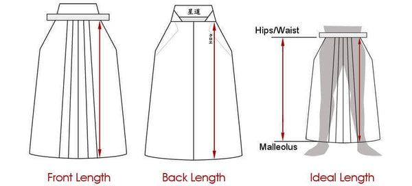 Schema for front and back measurements (Hakama)