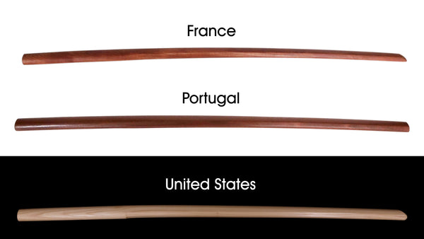 Bokken from abroad, France, Portugal and United States