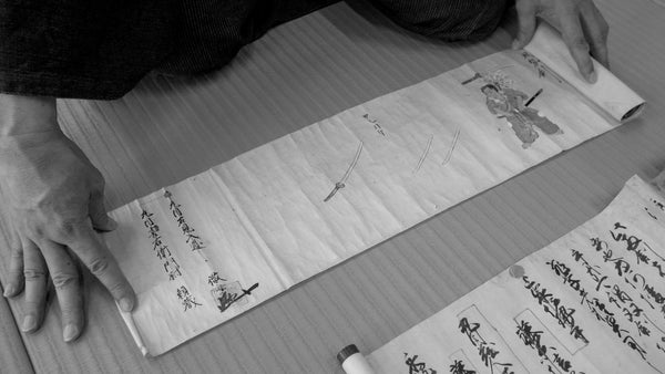 Ancient scrolls from the Hyoho Taisha Ryu's Archives