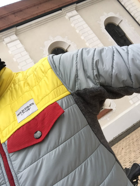 Warme Daunenfront an der Winter-Velojacke von Café du Cycliste