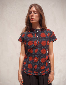 Print and Stitch Shirt: Red Floral