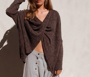 Cross over knit top