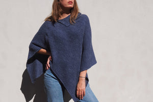 Knitted collared poncho