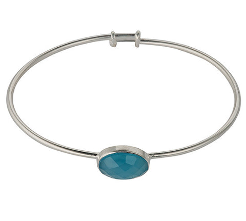 Sterling Silver Chalcedony Bangle