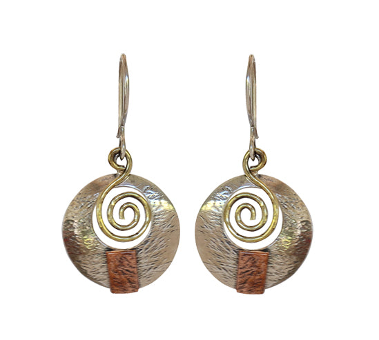 Sterling Silver Earrings with Brass and Copper Plating