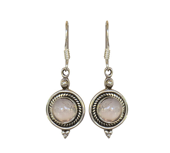 Sterling Silver Rose Quartz Earrings
