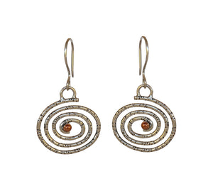 Sterling Silver Earrings with Copper Detail
