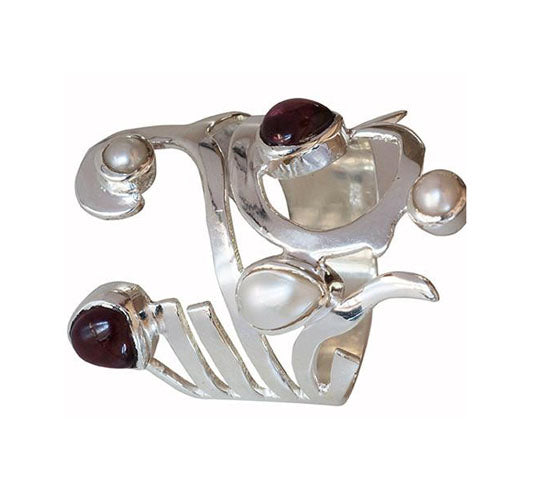 Sterling Silver Pearl and Garnet Ring