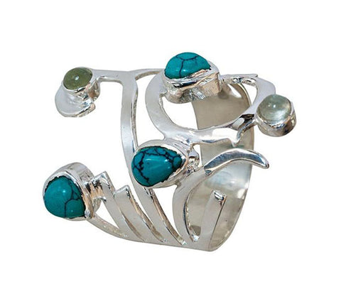Turquoise and Prehnite Ring