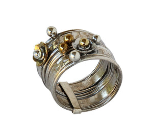 Sterling Silver Ring with Brass