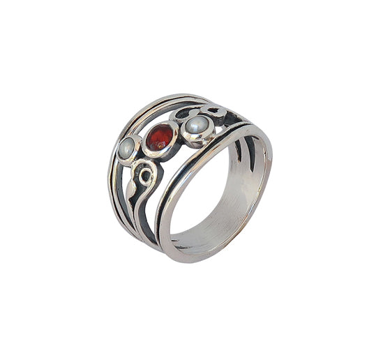 Sterling Silver Garnet/Pearl Ring