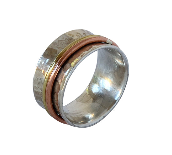 Sterling Silver Ring with Brass and Copper Plating