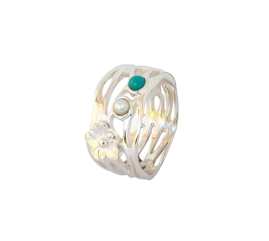 Sterling Silver Turquoise and Pearl Ring