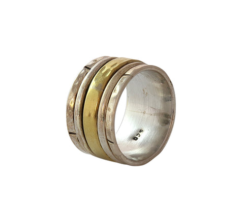 Sterling Silver and Brass Ring