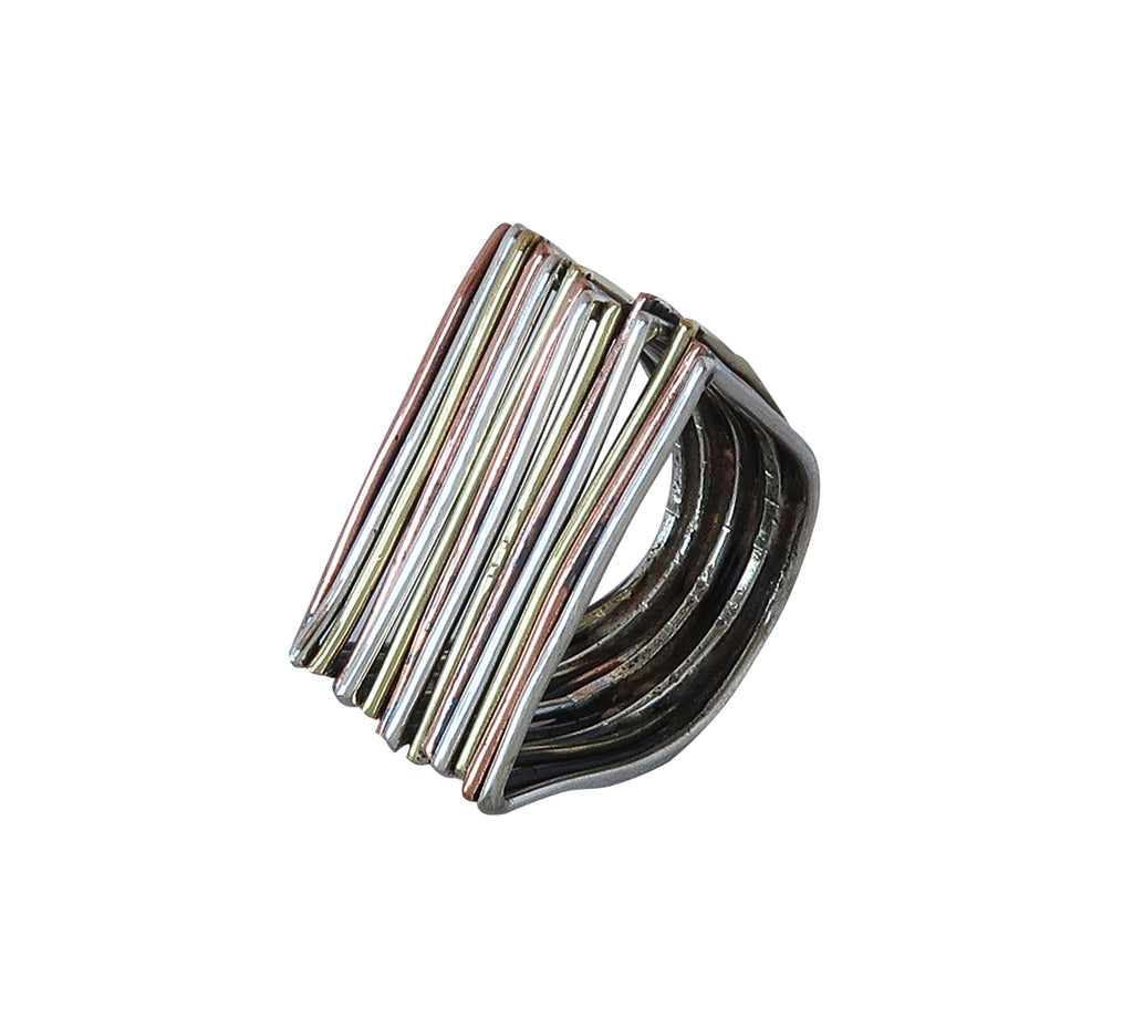Sterling Silver Brass and Copper Ring